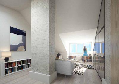 Tunnelmallinen olohuone isoilla ikkunoilla - ullakkoasunto Etu-Töölössä