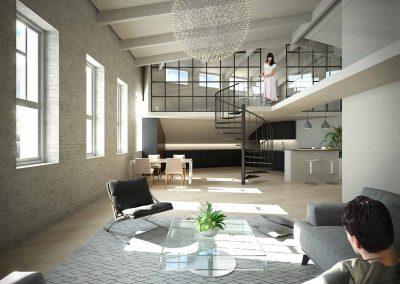 Hulppea olohuone mustilla kierreportailla ja isoilla ikkunoilla - ullakkoasunto Etu-Töölössä