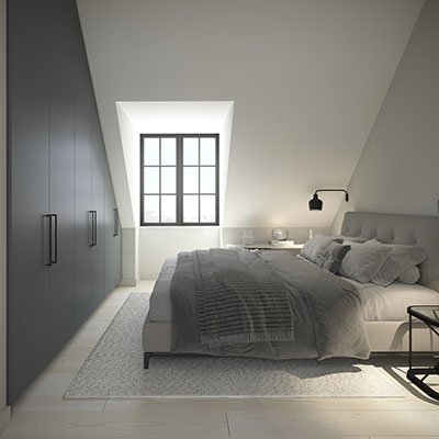Iso Roobertinkatu 41 C 72 ullakkoasunnon makuuhuone2 Loftmen