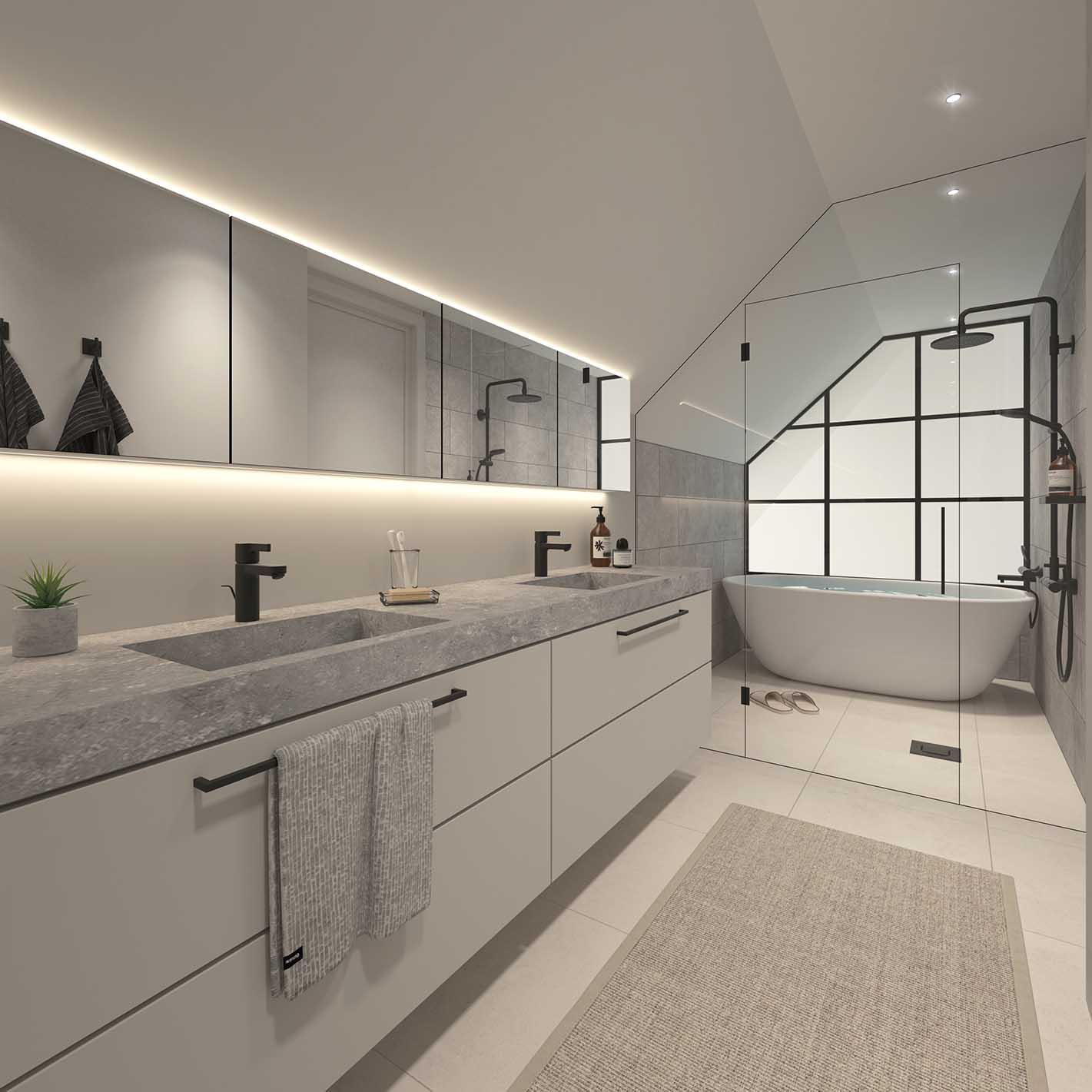 Iso Roobertinkatu 41 C73 ullakkoasunnon kylpyhuone
