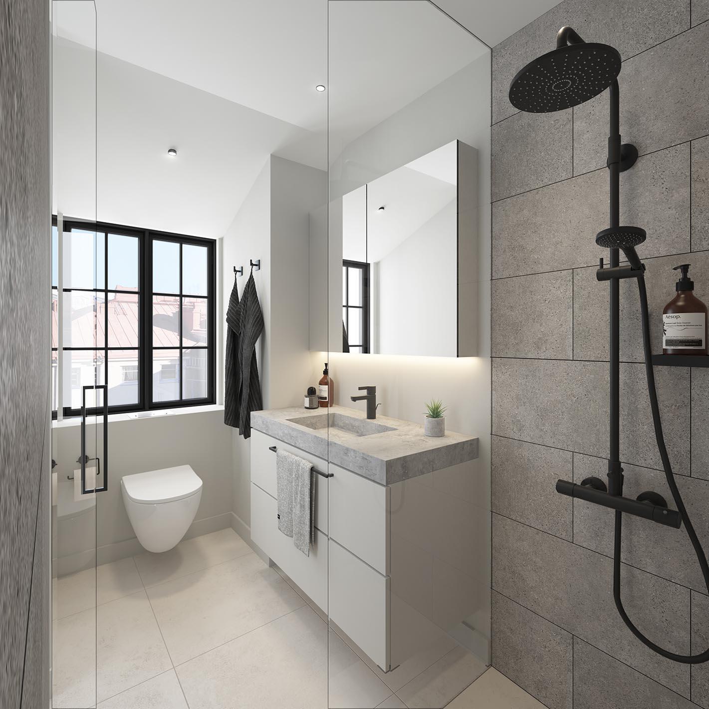 Iso Roobertinkatu 41 a 67_ullakkoasunnon kylpyhuone