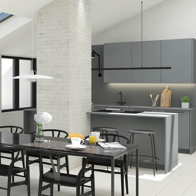 Iso Roobertinkatu 41 a 69_ullakkoasunnon keittiö ja ruokailutila