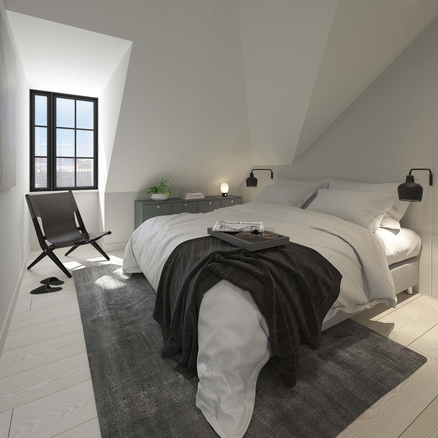 Iso Roobertinkatu 41 a 69 ullakkoasunnon makuuhuone